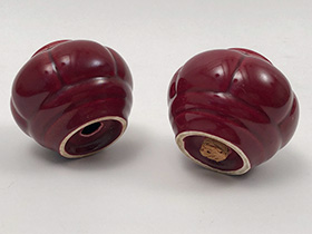 Tango Homer Laughlin Shakers in Maroon Glaze Riviera Harlequin Vintage American Pottery