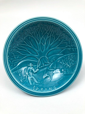 1939 1940 New York Worlds Fair Turquoise Spring Scene Ashtray The American Potter Joint Exhibit