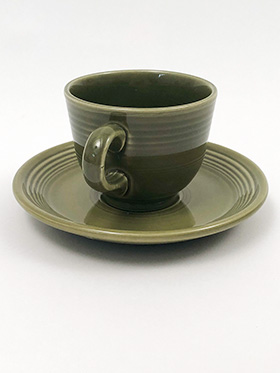 Vintage Fiesta Ironstone Teacup and Saucer Set in Turf Green Glaze 1969-1973