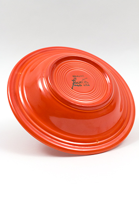 Vintage Fiesta Red Deep Plate Original Fiestaware Homer Laughlin Radioactive Red Pottery 30s 40s American Tableware