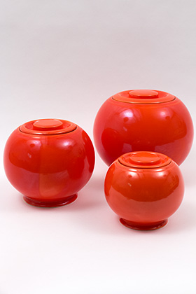 Vintage Fiesta Kitchen Kraft Small Covered Ball Jar in Original Red Glaze