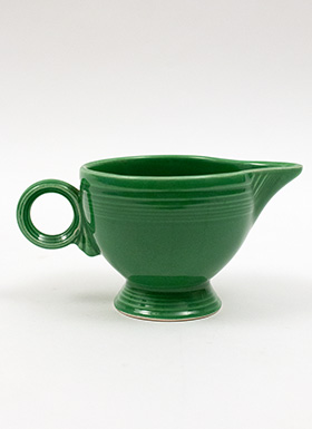 Vintage Fiesta Ring Handled Creamer in Original Medium Green Glaze