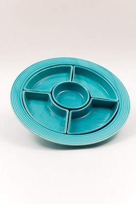 Fiesta Relish Tray All Turquoise Glaze Fully Marked Thick Walled Construction