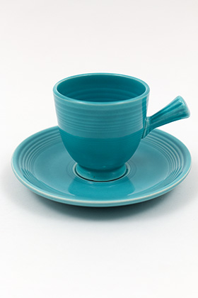 Turquoise Vintage Fiesta Demitasse Cup and Saucer Set Fiestaware Pottery For Sale