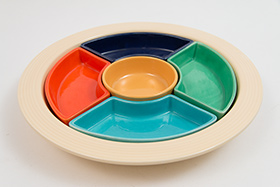 Vintage Fiesta Relish Tray: All Six Original Colors on Ivory Base