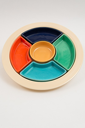 Fiesta Relish Tray: Complete, Original Six Colors Fiestaware Lazy Susan