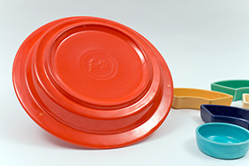 Vintage Fiesta Relish Tray: All Six Original Colors on Red Base Fully Marked