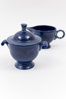 Vintage Fiesta Sugar Bowl and Ring Handled Creamer Set in Original Blue Glaze 30s 40s Pottery