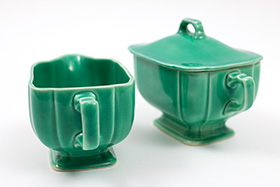 Riviera Pottery for Sale: Original Green Sugar and Creamer Set from vintagefiestaware.com