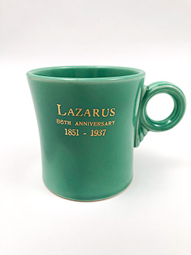 Vintage Fiesta Tom and Jerry Mug in Original Green with 1937 Lazarus Advertising