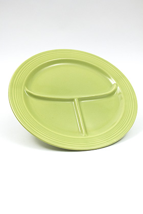 Vintage Fiesta Ten Inch Divided Plate in Original 50s Chartreuse Glaze