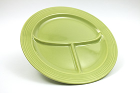 Vintage Fiesta Ten Inch Divided Plate in Original 50s Chartreuse: Genuine, Old, Antique, For Sale, Gift
