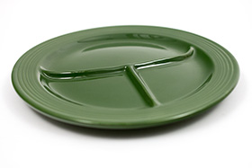 Vintage Fiesta Ten Inch Divided Plate in Original 50s Forest Green: Genuine, Old, Antique, For Sale, Gift