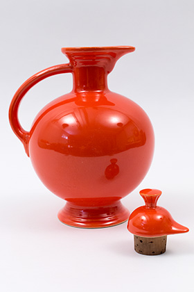 Vintage Fiesta Carafe in Original Red: Radioactive Fiestaware: Genuine, Old, Antique, For Sale, Gift