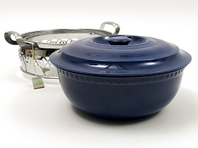 Homer Laughlin Cobalt Blue Royal Metal Covered Casserole Original Pricetag