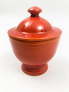 Vintage Fiesta Ironstone Sugar Bowl in Mango Red Glaze for Sale Circa 1969-1973