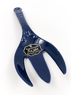 Vintage Fiesta Kitchen Kraft Fork with Original Foil Label in Cobalt Blue Glaze