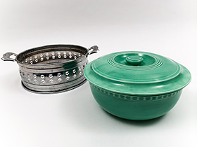 Original Green Kitchen Kraft Casserole with Medal Holder: GoAlong Fiestaware Pottery For Sale