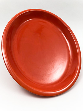 Vintage Fiesta Red Large 13inch Royal Metal Platter: Hard to Find Go-Along Fiestaware Pottery For Sale