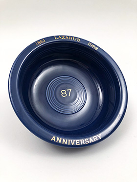 Lazarus 1938 Anniversary Blue Vintage Fiestaware Fruit Bowl For Sale
