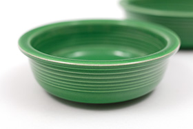 Red Vintage Fiesta 4inch Berrry Bowl in Medium Green Glaze For Sale