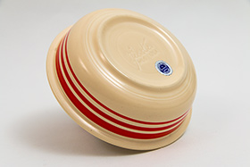 Rare Vintage Fiesta Red Stripe Fruit Bowl 30s 40s Homer Laughlin Pottery