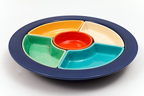 Vintage Fiesta Relish Tray: All Six Original Colors on Cobalt Base