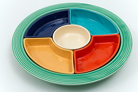 Vintage Fiesta Relish Tray: All Six Original Colors on Green Base