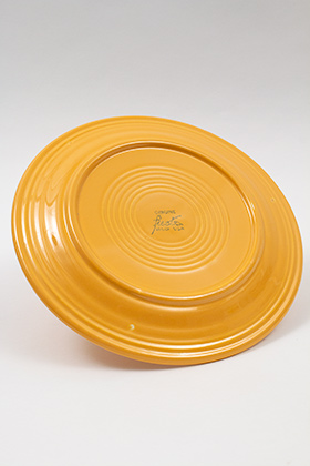 Vintage Fiesta Ten Inch Divided Plate in Original yellow: Genuine, Old, Antique, For Sale, Gift