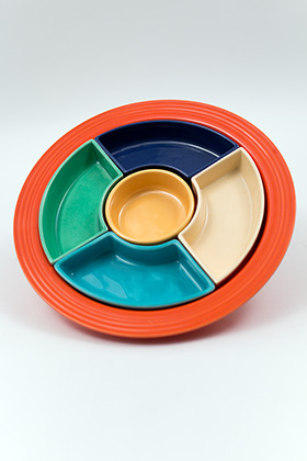 Fiesta Relish Tray: All Six Original Colors on Red Base