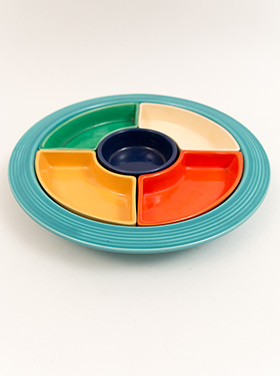 Fiesta Relish Tray: All Six Original Colors on Green Base