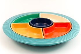 Vintage Fiesta Relish Tray: All Six Original Colors on Turquoise Base