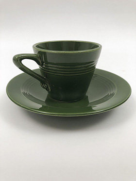 Harlequin Demitasse Cup and Saucer Set in Original '50s Forest Green
