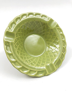 Harlequin Pottery Basketweave Ashtray in Original 50s Chartreuse Glaze
