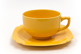 Riviera Pottery Teacup and Saucer Set in Original Yellow Glaze