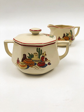 Yellowstone Homer Laughlin Maxicana Sugar Creamer Set with Red Stripe 1941