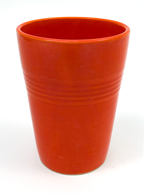 Vintage Harlequin Water Tumbler in Red Colored Glaze for Sale