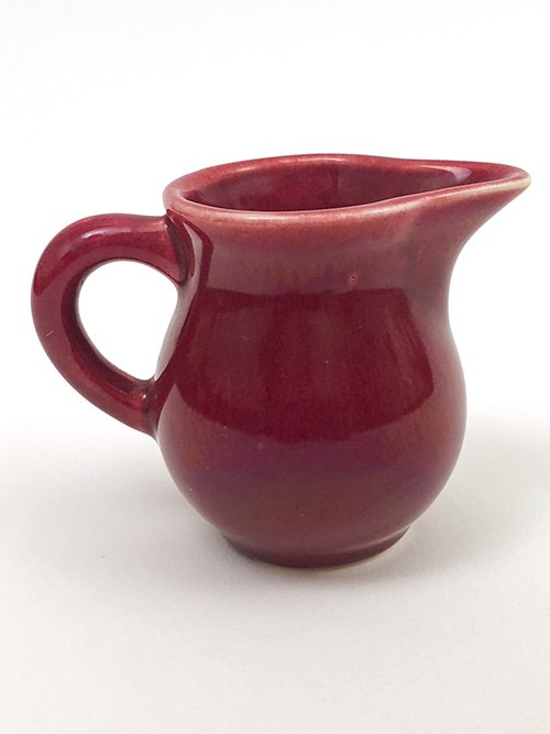 Vintage Homer Laughlin Woolworths Toy Individual Creamer in Original Maroon Glaze for Sale