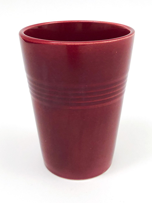 Vintage Harlequin Water Tumbler in Maroon Colored Glaze for Sale