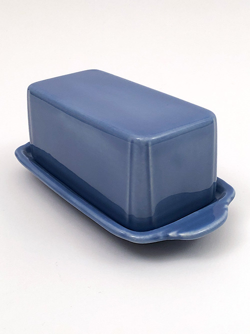 Homer Laughlin Riviera Butter Dish in Harlequin Blue Colored Glaze