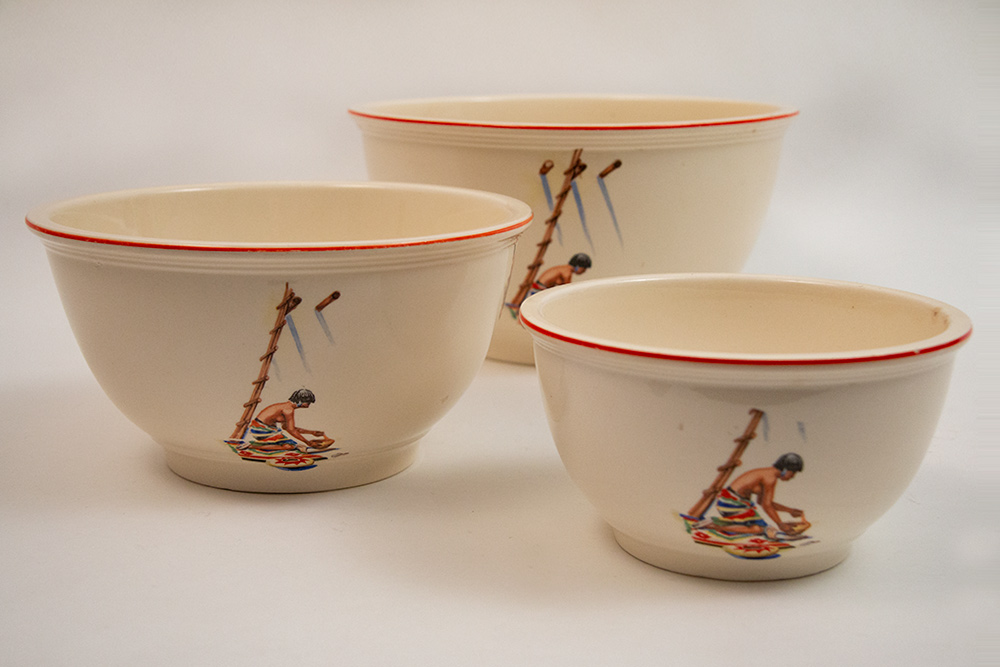 fiesta kitchen kraft red stripe pueblo decalware mixing bowls for sale