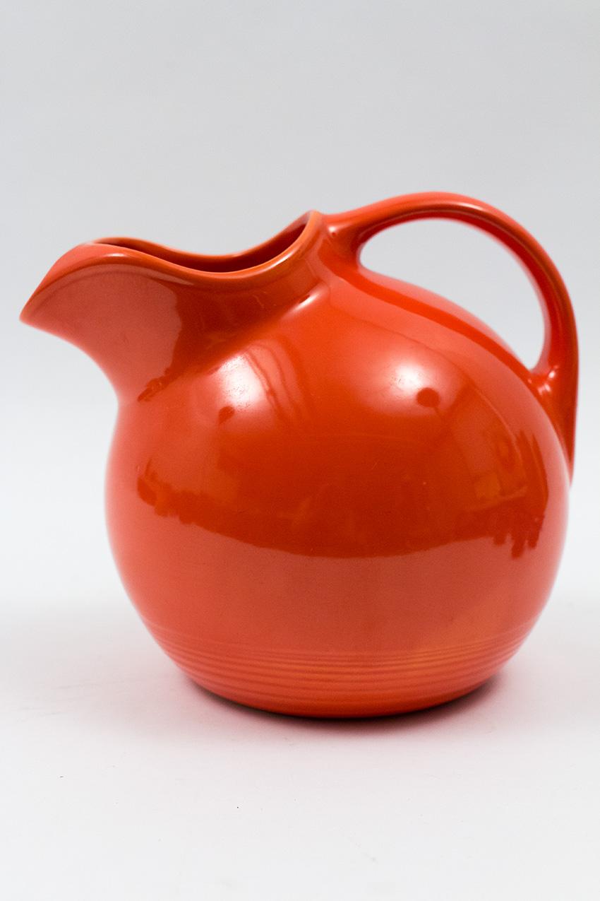 Vintage Harlequin Pottery Original Red Water Pitcher