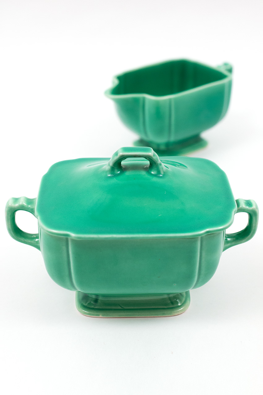 Riviera homer laughlin solid color 30s 40s vintage pottery for sale riviera pottery for sale original green sugar and creamer set from vintagefiestaware nvjuhfo Choice Image