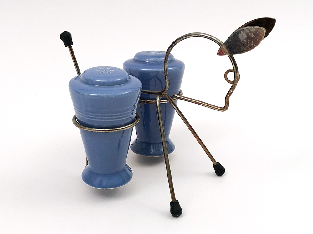 mauve blue harlequin shakers in original metal donkey holder