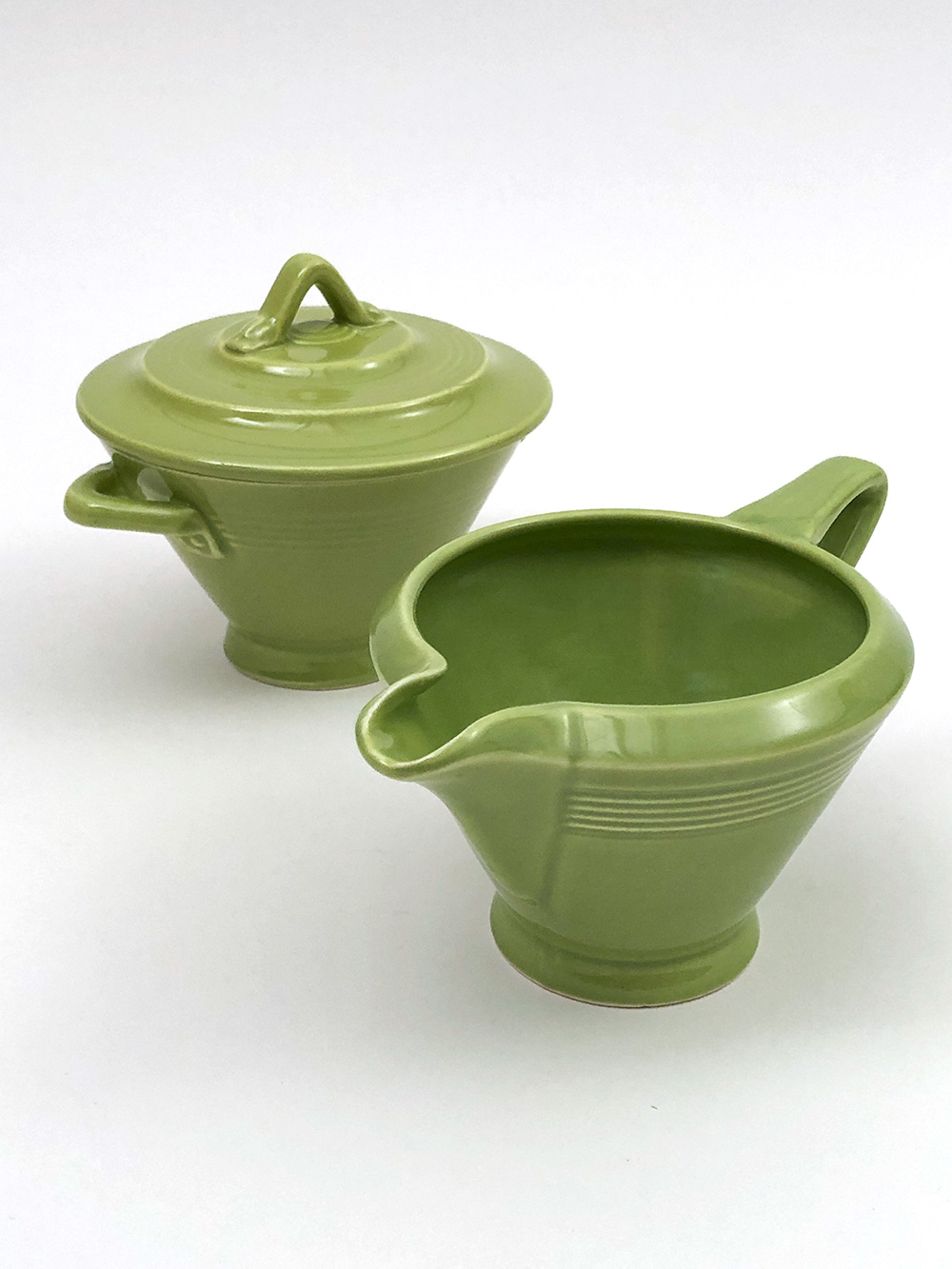 chartreuse green harlequin sugar and creamer set for sale