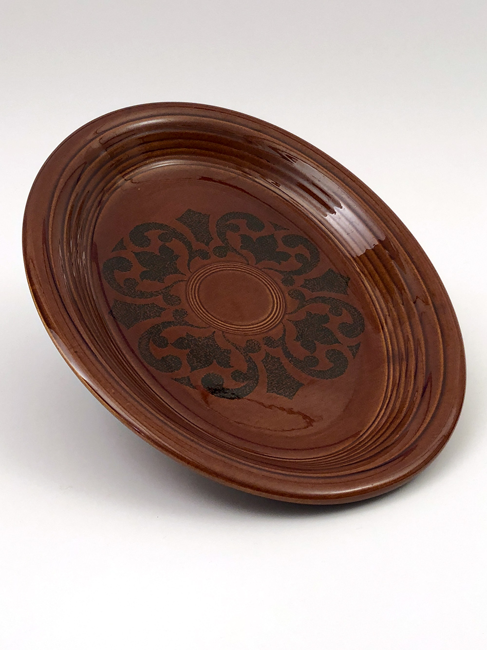 fiesta ironstone platter in amberstone dark brown