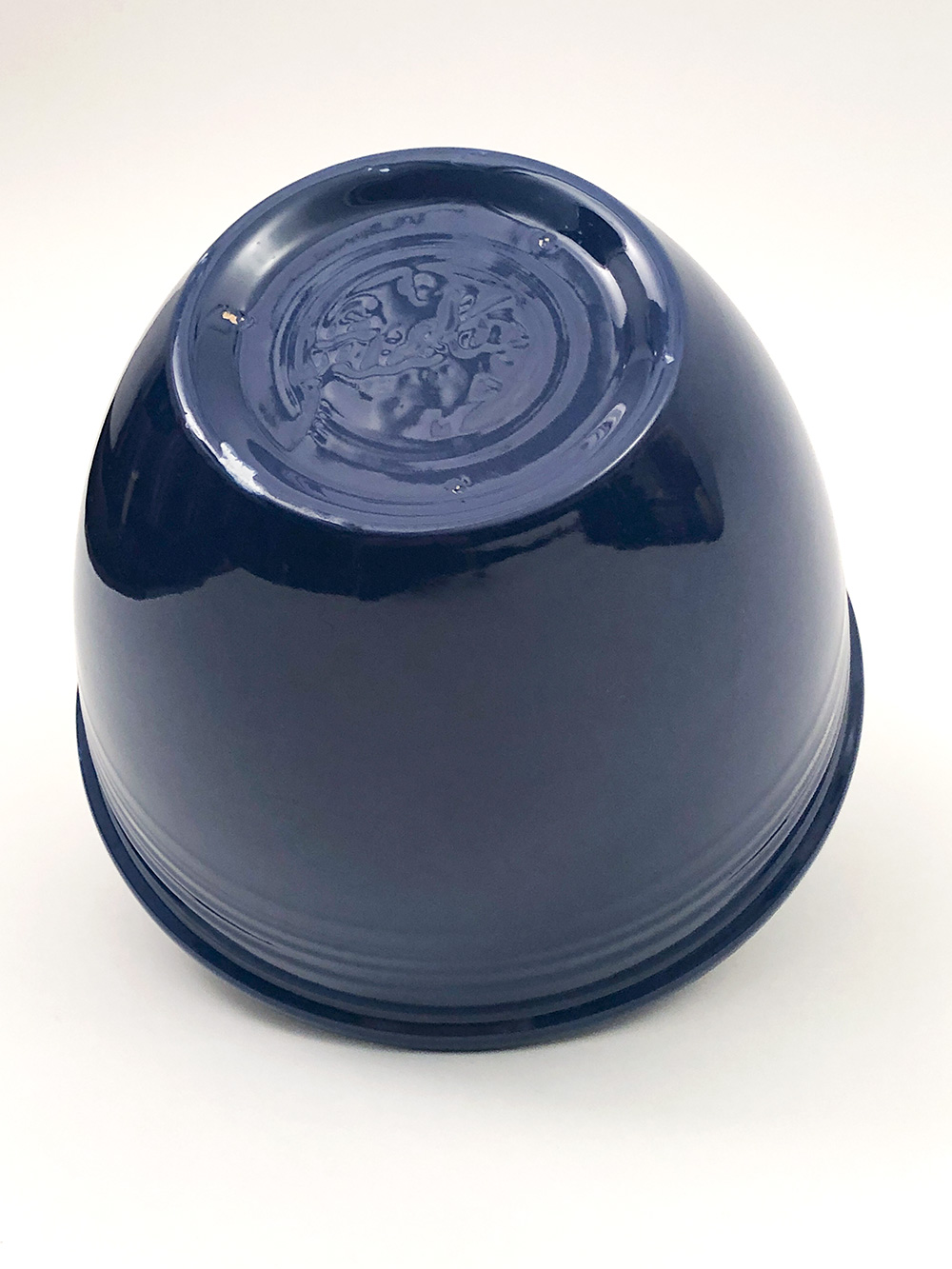 side view Number 4 original cobalt blue vintage fiesta nesting bowl