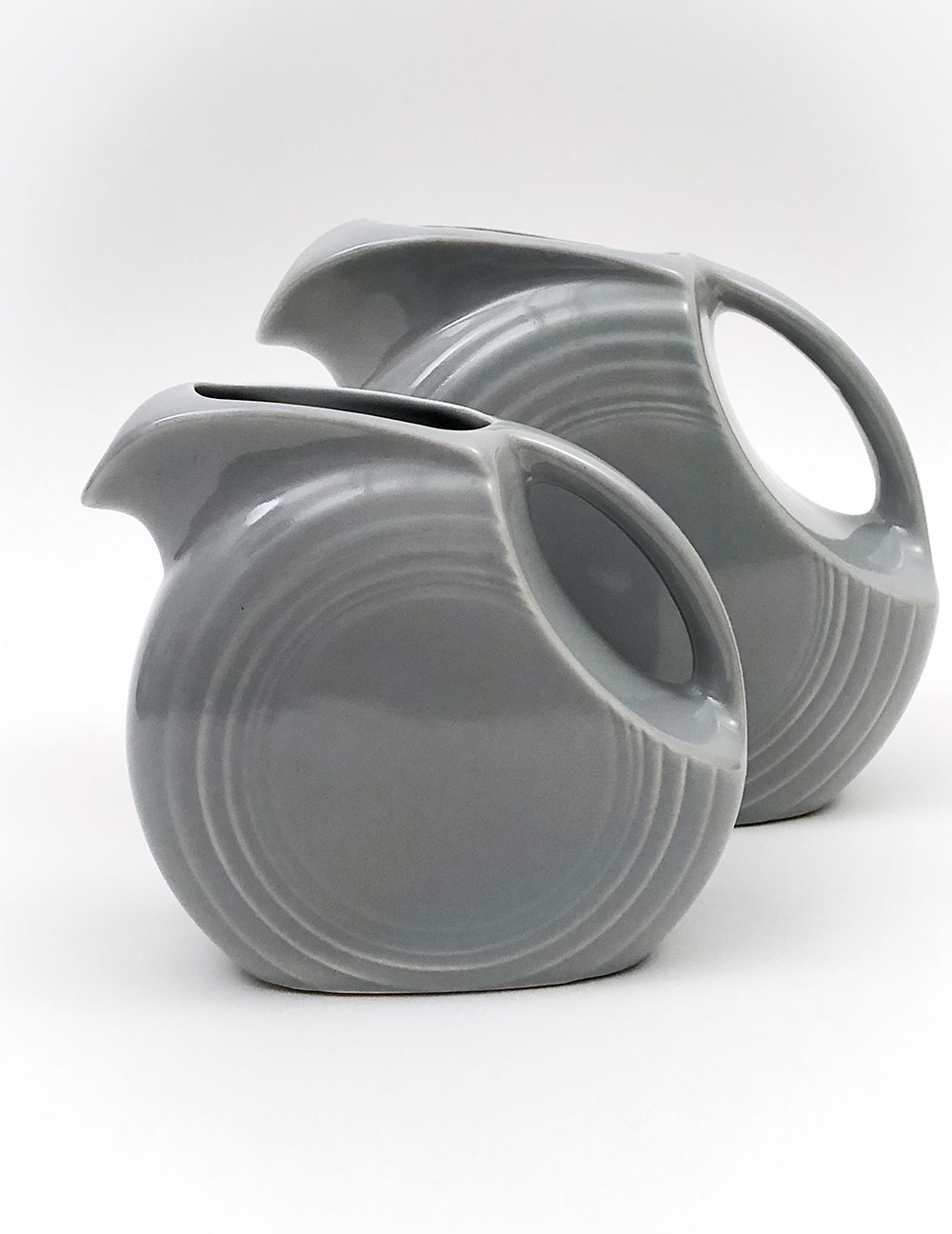 small gray older fiesta gray disc pitcher