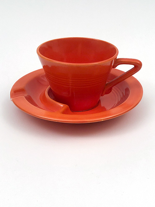 Harlequin Pottery Saucer Ashtray in Radioactive Red Glaze