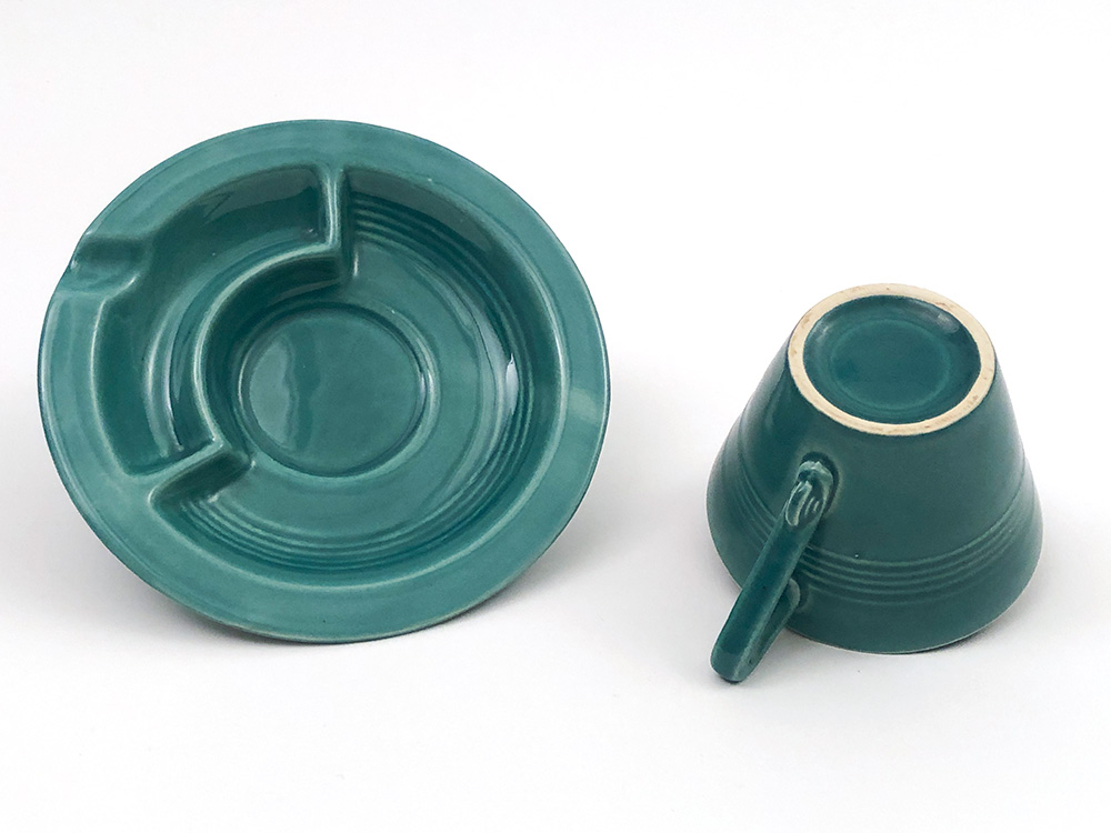 spruce green Harlequin cup and saucer ashtray